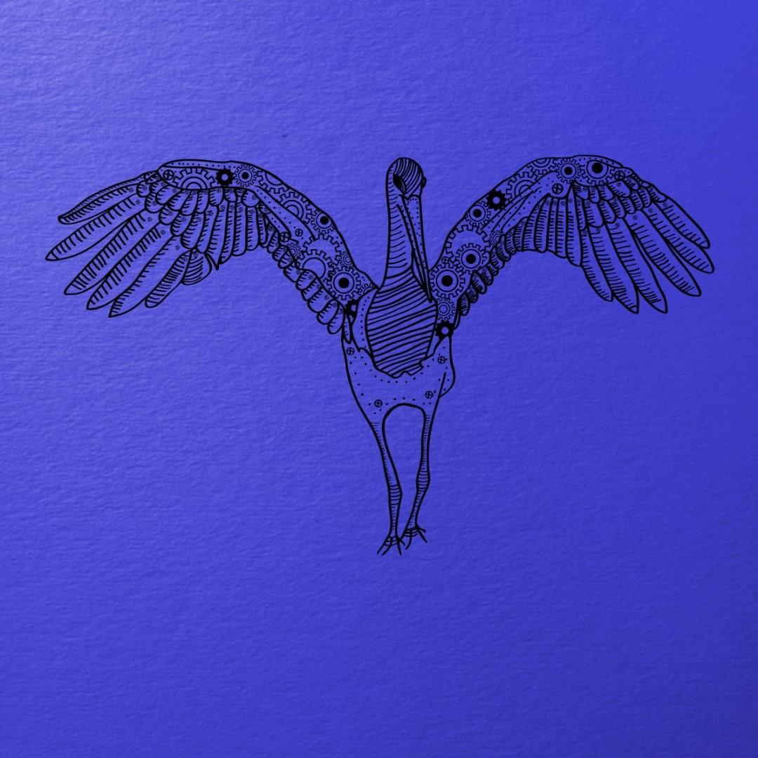 Ilustracja wektorowa - czarny-bocian